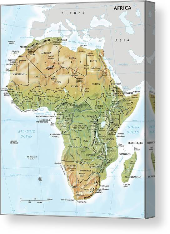 Topography Canvas Print featuring the digital art Africa Continent Map With Relief by Globe Turner, Llc