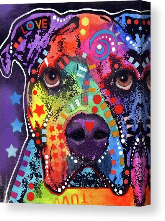 American Bulldog 121609 Canvas Print featuring the mixed media American Bulldog 121609 by Dean Russo