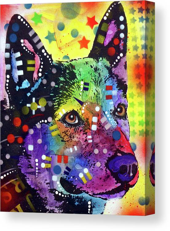 Aus Cattle Dog Canvas Print featuring the mixed media Aus Cattle Dog by Dean Russo