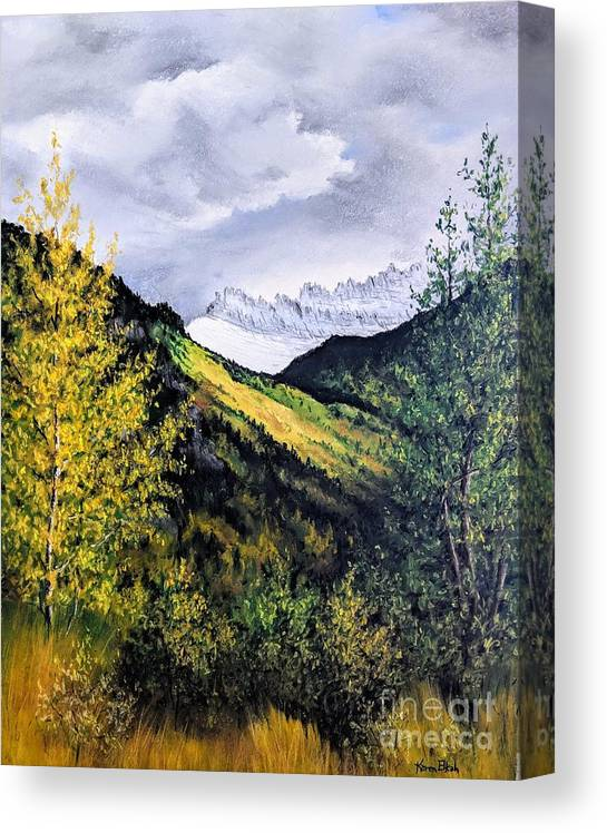 Glacier Park Canvas Print featuring the pastel Autumn in Glacier Park by Karen Elkan