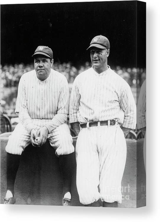 American League Baseball Canvas Print featuring the photograph Babe Ruth Lou Gehrig Yankee Stadium by Transcendental Graphics