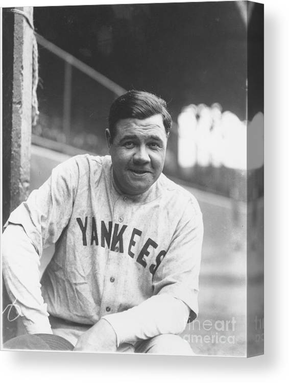 People Canvas Print featuring the photograph Babe Ruth by Louis Van Oeyen/ Wrhs