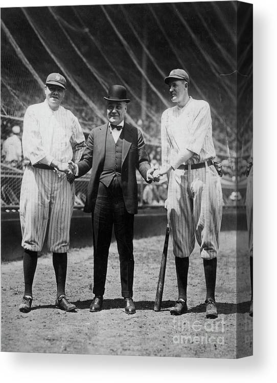 American League Baseball Canvas Print featuring the photograph Babe Ruth Ruppert Meusel by Transcendental Graphics