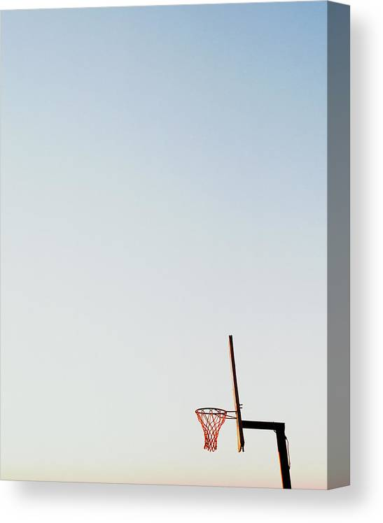 Clear Sky Canvas Print featuring the photograph Basketball Net And Backboard Against by Shaun Egan