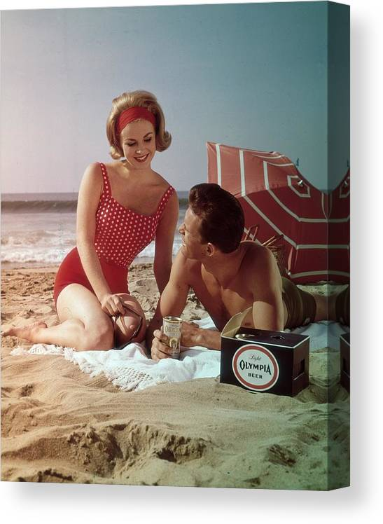 Alcohol Canvas Print featuring the photograph Beer On The Beach by Tom Kelley Archive