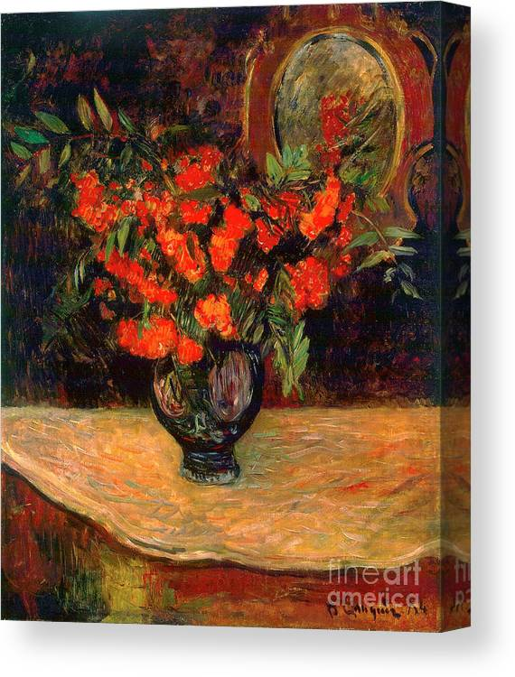 Paul Gauguin Canvas Print featuring the drawing Bouquet, 1884. Artist Paul Gauguin by Heritage Images