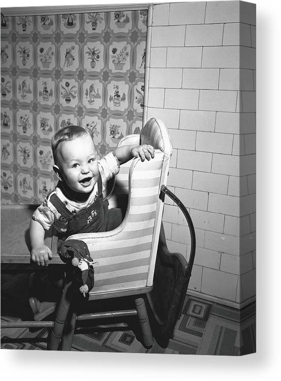 Child Canvas Print featuring the photograph Boy 2-3 Sitting In High Chair, B&w by George Marks