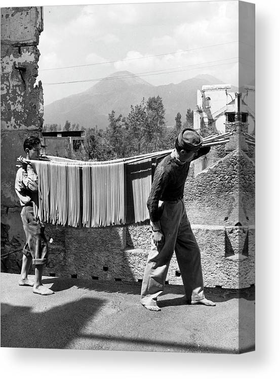Working Canvas Print featuring the photograph Boys Working In Pasta Factory Carry by Alfred Eisenstaedt