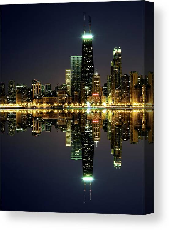 Lake Michigan Canvas Print featuring the photograph Chicago Skyline Reflected On Lake by Pawel.gaul