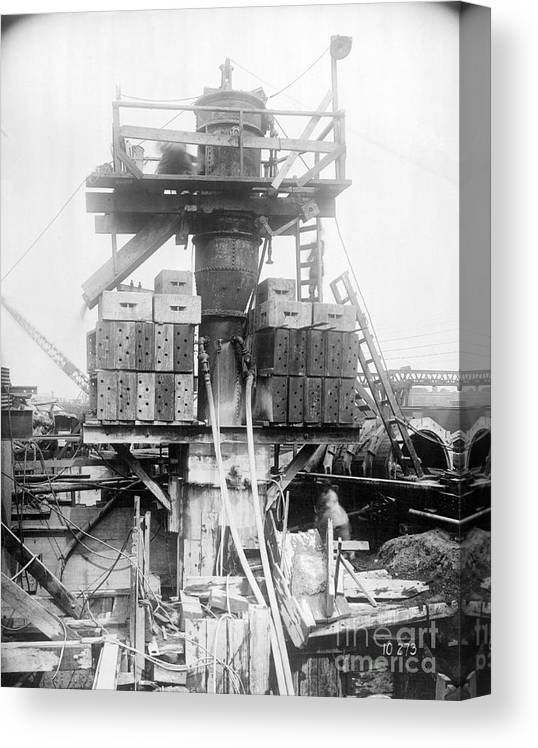 Civil Engineering Canvas Print featuring the photograph Construction Of Holland Tunnel by Bettmann