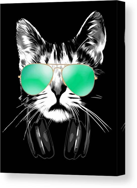 Cat Canvas Print featuring the digital art Cool DJ Cat by Filip Schpindel