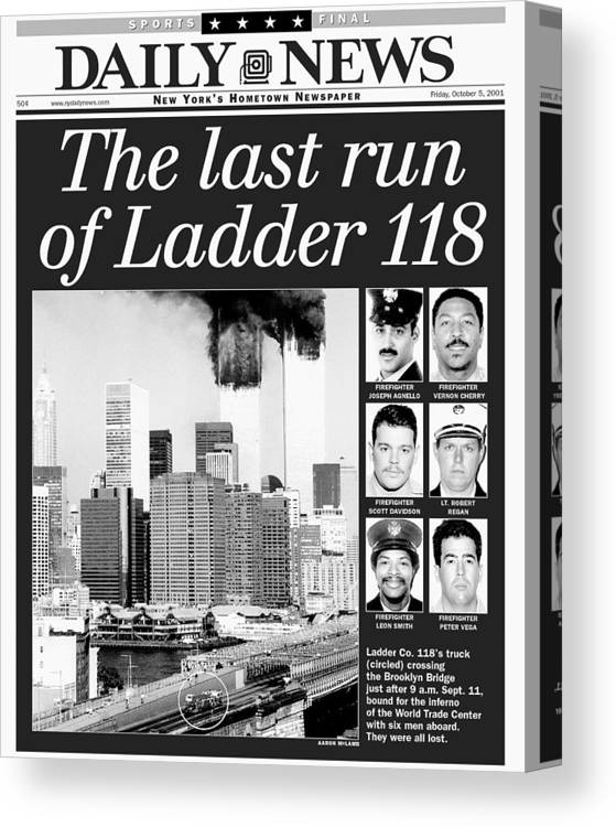 Vertical Canvas Print featuring the photograph Daily News Front Page Dated Oct. 5 by New York Daily News Archive