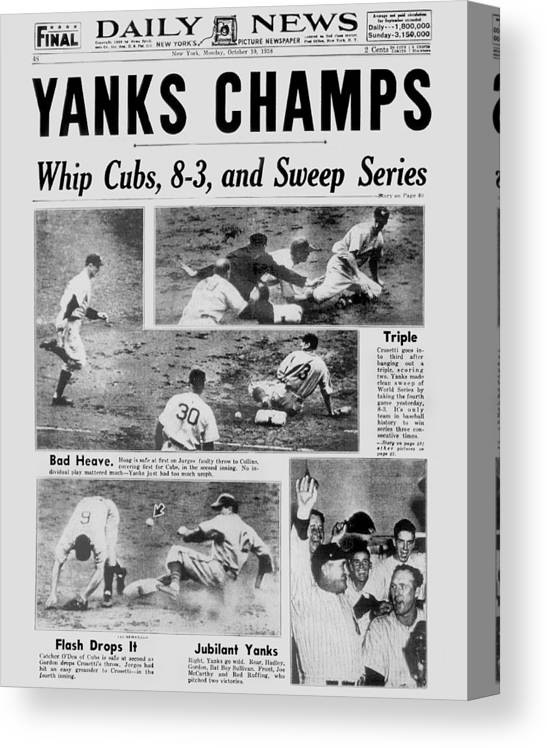 American League Baseball Canvas Print featuring the photograph Daily News Front Page October 10, 1938 by New York Daily News Archive