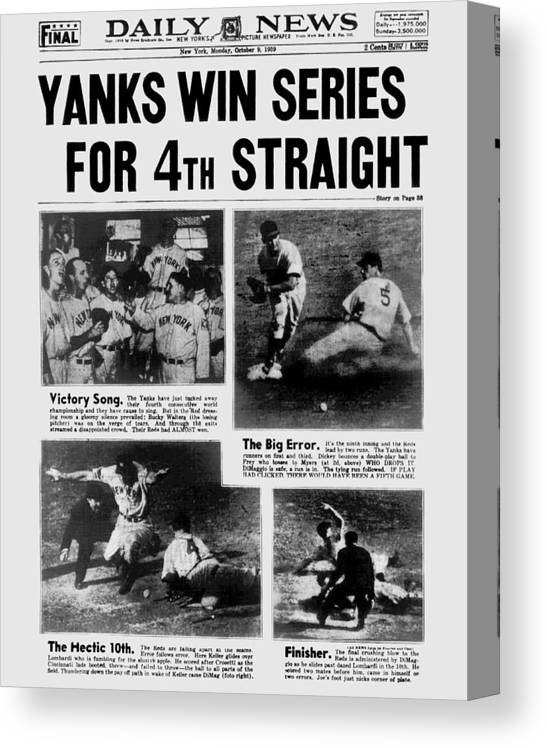 American League Baseball Canvas Print featuring the photograph Daily News Front Page October 9, 1939 by New York Daily News Archive