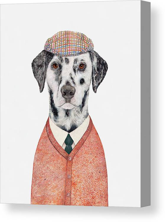 Dalmatian Canvas Print featuring the painting Dalmatian by Animal Crew