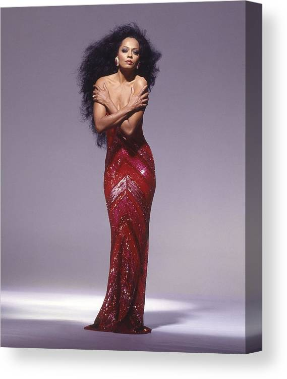 Singer Canvas Print featuring the photograph Diana Ross Portrait Session by Harry Langdon