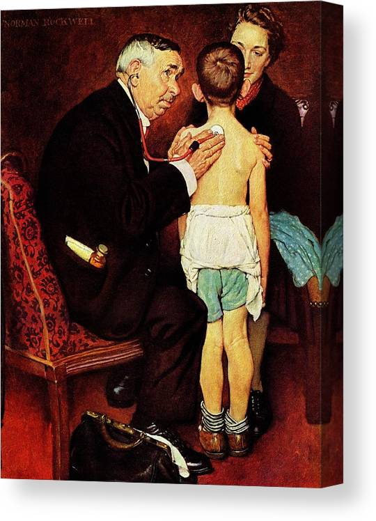Doctor Canvas Print featuring the drawing Doc Melhorn And The Pearly Gates by Norman Rockwell