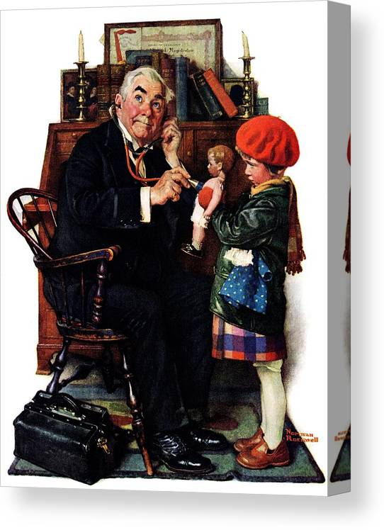 Doctors Canvas Print featuring the drawing Doctor And The Doll by Norman Rockwell