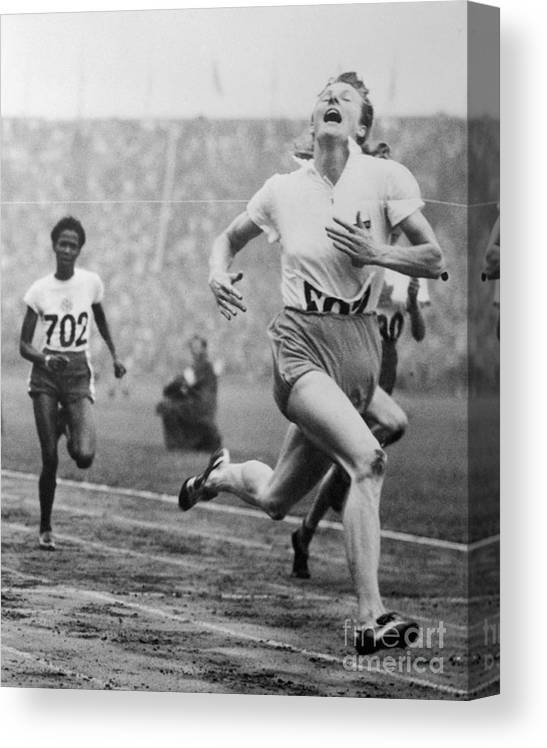 The Olympic Games Canvas Print featuring the photograph Fanny Blankers-koen Winning 100-meter by Bettmann