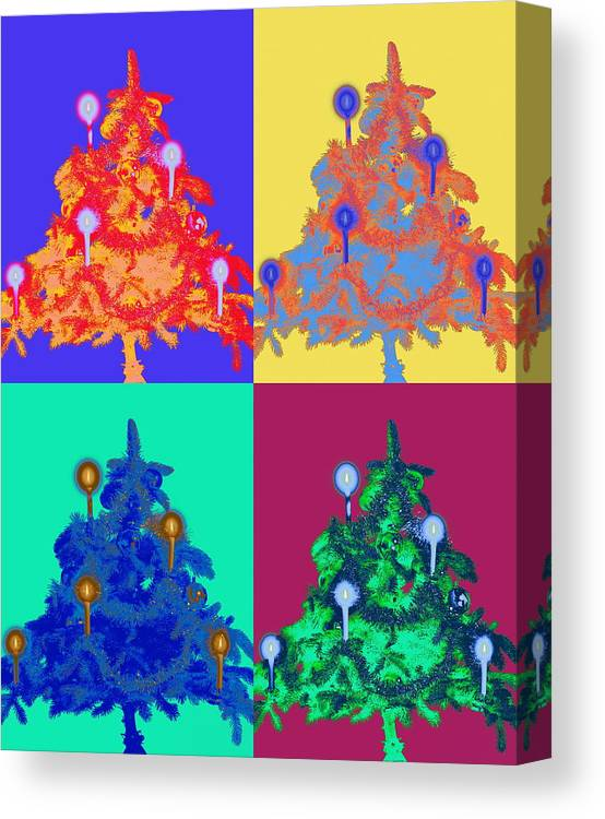 Celebration Canvas Print featuring the photograph Four Christmas Trees Decorated With by Peter Weber