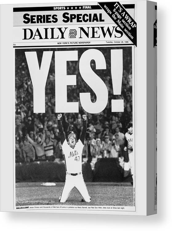 1980-1989 Canvas Print featuring the photograph Friont Page, Jesse Orosco And Thousands by New York Daily News Archive