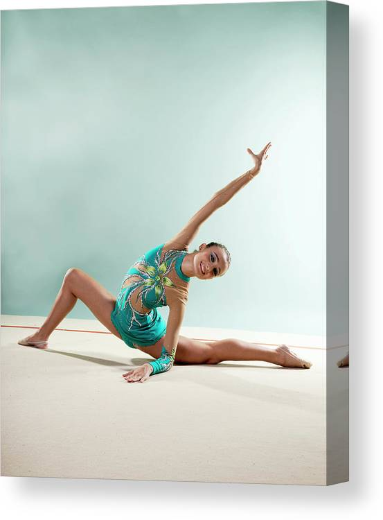 Human Arm Canvas Print featuring the photograph Gymnast, Smiling, Bending Backwards by Emma Innocenti