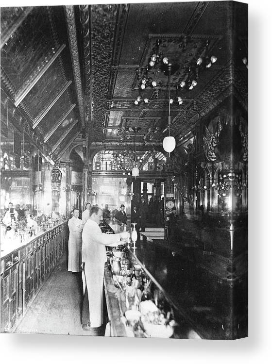 Working Canvas Print featuring the photograph Inside Hannah And Hoggs Saloon by Chicago History Museum