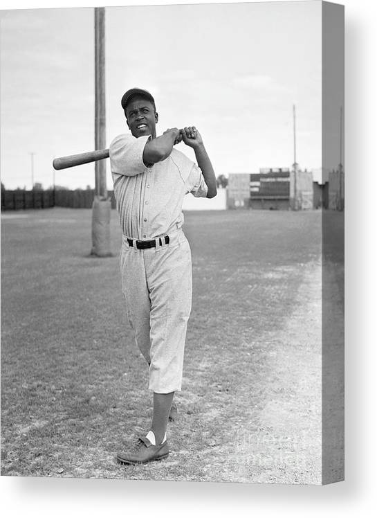 People Canvas Print featuring the photograph Jackie Robinson At Bat by Bettmann
