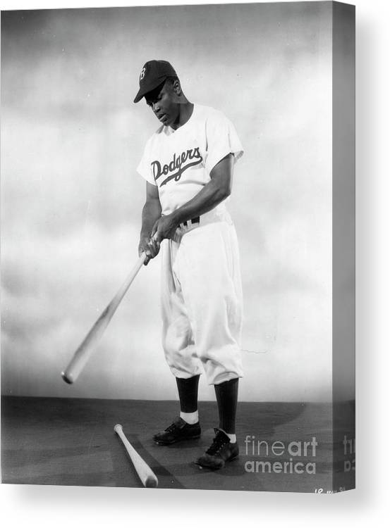 People Canvas Print featuring the photograph Jackie Robinson Full Figure Portrait by Transcendental Graphics