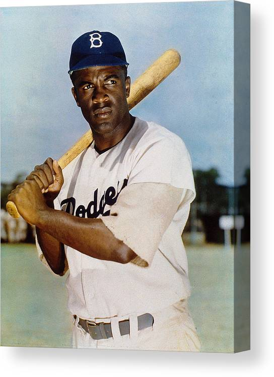 Jackie Robinson Canvas Print featuring the photograph Jackie Robinson In Brooklyn Dodgers by New York Daily News Archive
