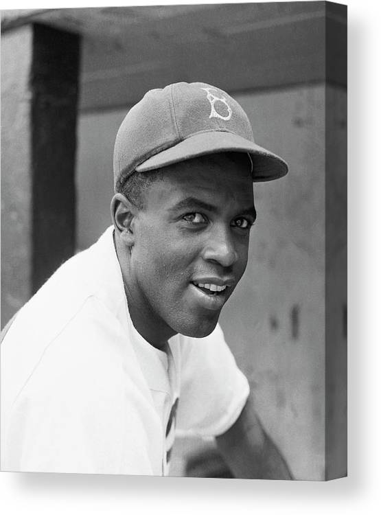 Baseball Cap Canvas Print featuring the photograph Jackie Robinson Smiling by Bettmann