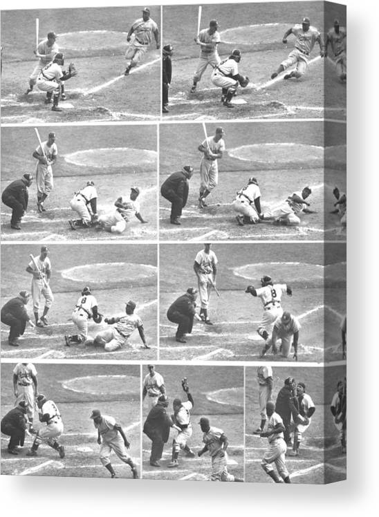 1950-1959 Canvas Print featuring the photograph Jackie Robinson, With Two Out In The by New York Daily News Archive