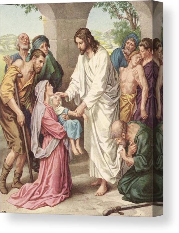 Engraving Canvas Print featuring the photograph Jesus Healing The Sick by Kean Collection