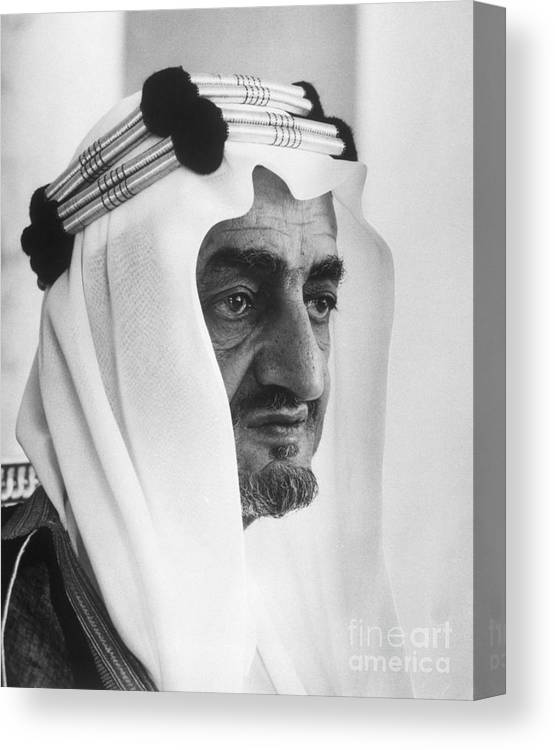 People Canvas Print featuring the photograph King Faisal by Bettmann