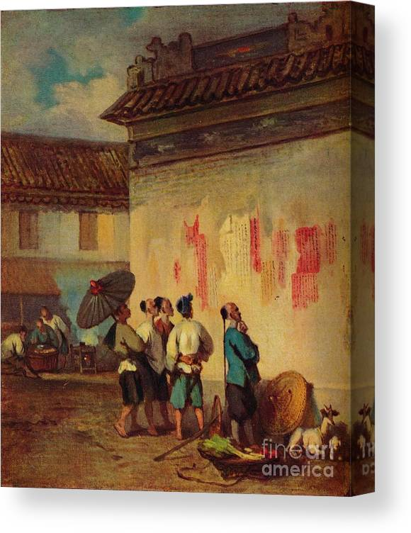 Macao Canvas Print featuring the drawing Labourer Reading A Proclamation, Macao by Print Collector