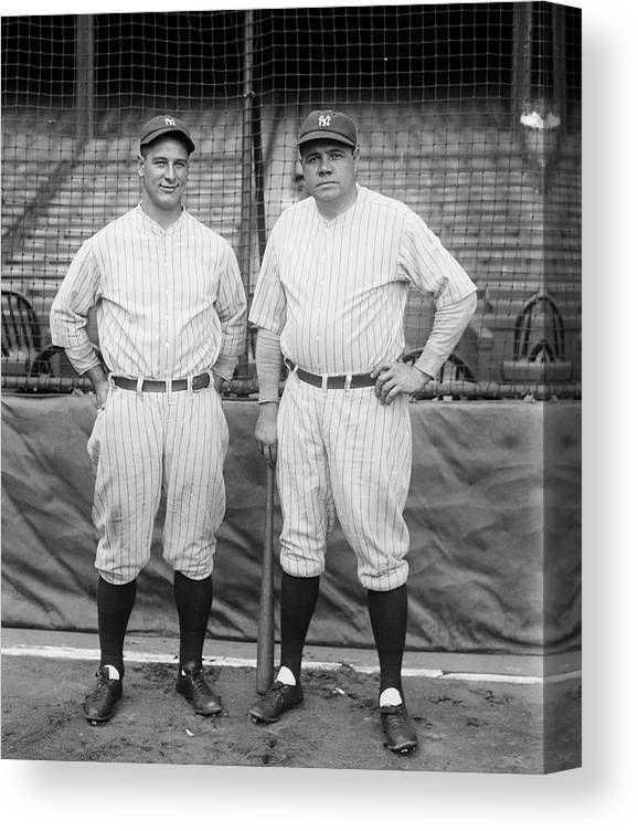 People Canvas Print featuring the photograph Lou Gehrig And Babe Ruth by Bettmann