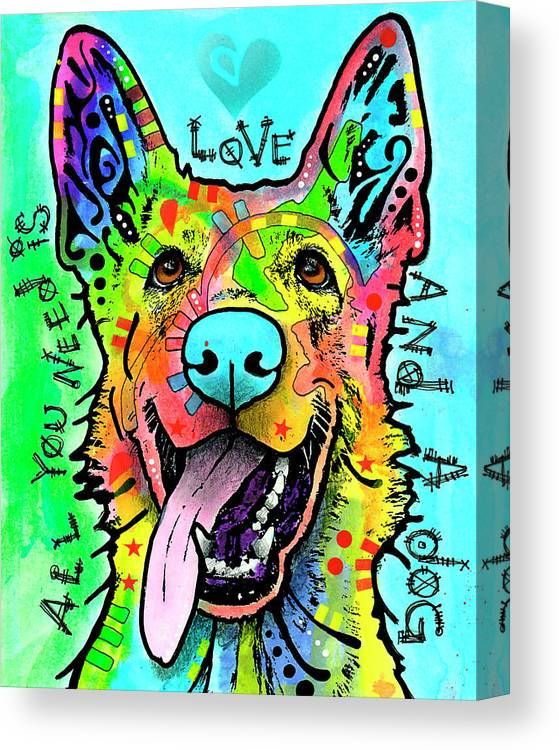 Dog Canvas Print featuring the mixed media Love And A Dog by Dean Russo
