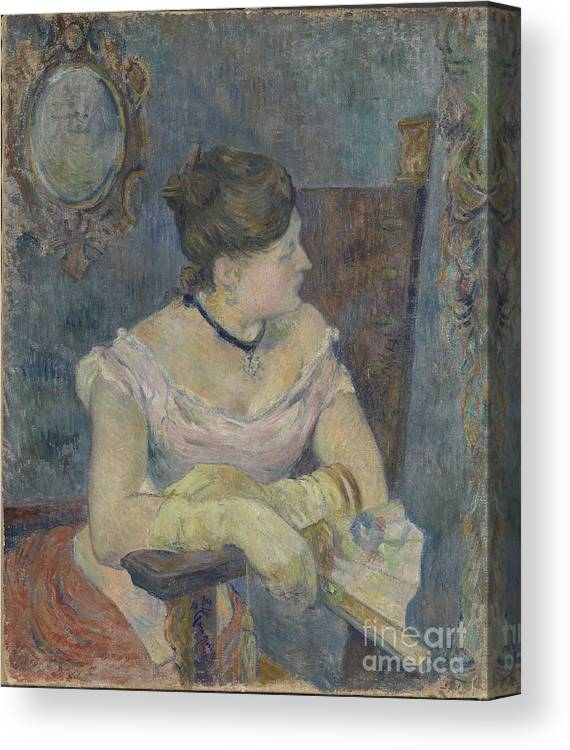 Paul Gauguin Canvas Print featuring the drawing Madame Mette Gauguin In Evening Dress by Heritage Images