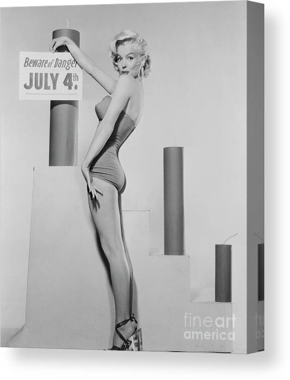 Firework Display Canvas Print featuring the photograph Marilyn Monroe Advertising Safety by Bettmann