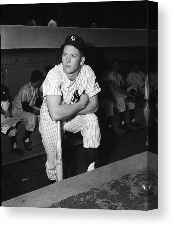 American League Baseball Canvas Print featuring the photograph Mickey Mantle In Yankee Dugout by Frederic Lewis
