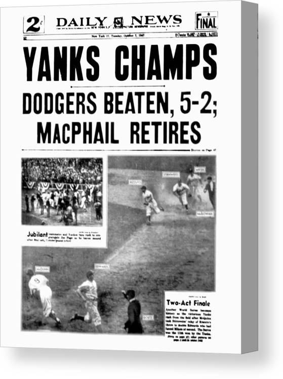 American League Baseball Canvas Print featuring the photograph New York Daily News Front Page October by New York Daily News Archive