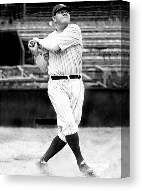 People Canvas Print featuring the photograph New York Yankees Babe Ruth Swinging His by New York Daily News Archive
