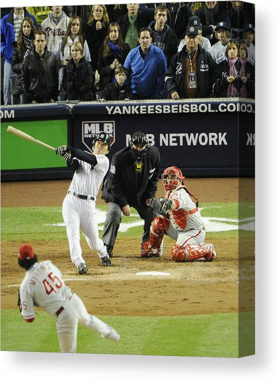 American League Baseball Canvas Print featuring the photograph New York Yankees Hideki Matsui Hits by New York Daily News Archive