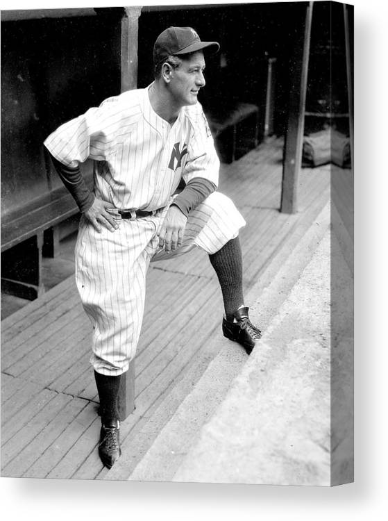 People Canvas Print featuring the photograph New York Yankees Lou Gehrig by New York Daily News Archive