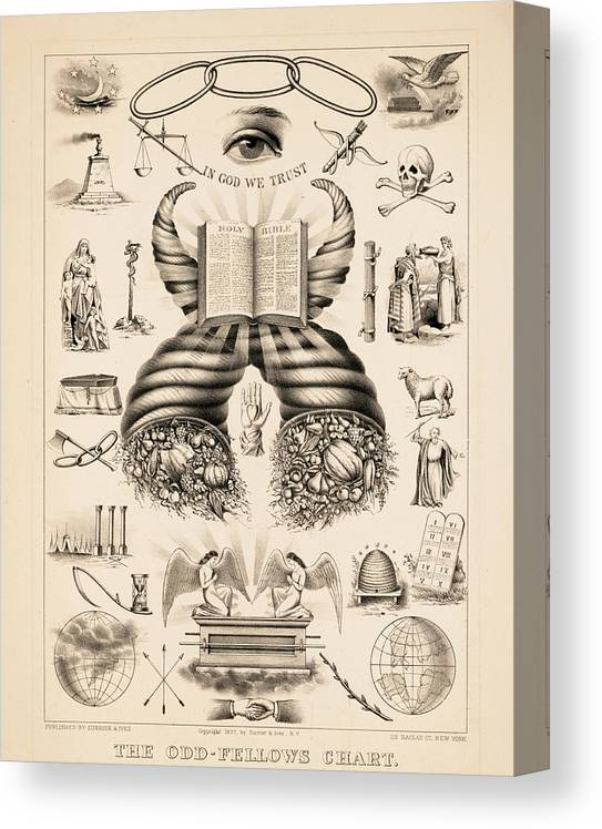 Odd-fellows Chart Canvas Print featuring the painting Odd-fellows Chart, 1877 by American School
