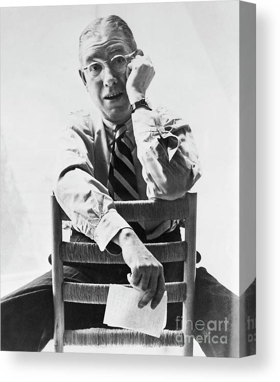 Poetry- Literature Canvas Print featuring the photograph Ogeden Nash by Bettmann