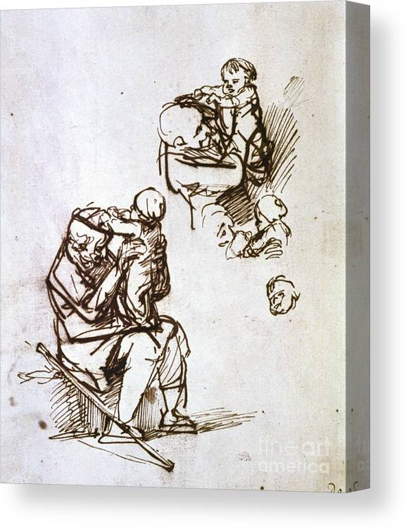 Toddler Canvas Print featuring the drawing Old Man Playing With Child, 1635-1640 by Print Collector