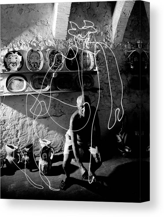 Pablo Picasso Canvas Print featuring the photograph Picasso Drawing With Light by Gjon Mili
