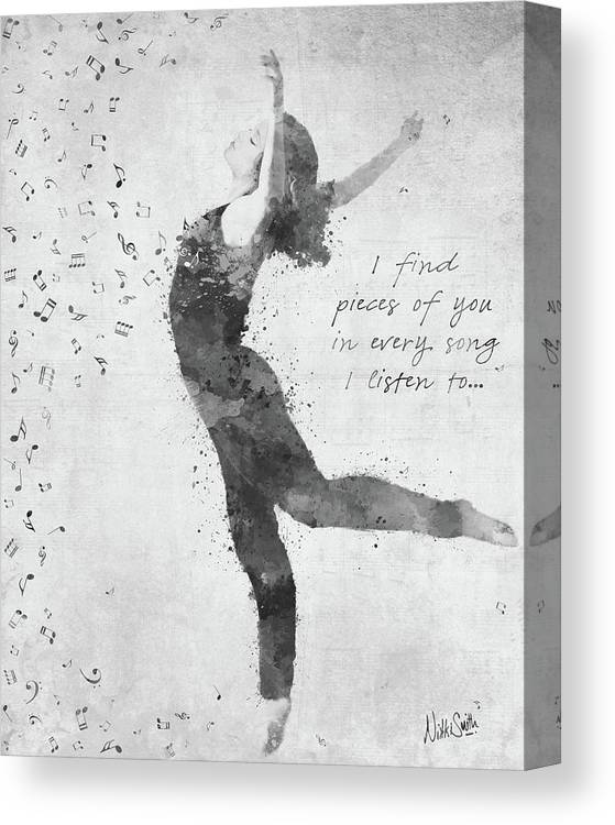 Music; Dancer; Dance; Ballet; Pieces Of You; Song; Lyrics; B&w; Black And White; Watercolor; Deanna Mondello; Spirit; Heart; Soul; Passion; Singer; Talented; Vibrant; Activism; Artwork; Digital Watercolor; Songwriter; Singing; Love; Motion; Grace; Movement; Fluidity; Rhythm; Memory; Woman; Female; Notes; Pointe; Nikki Smith; Remember; Adagio; Ballerina; Arabesque; Black; White Canvas Print featuring the digital art Beloved Deanna Radiating Love and Light in Black and White by Nikki Marie Smith