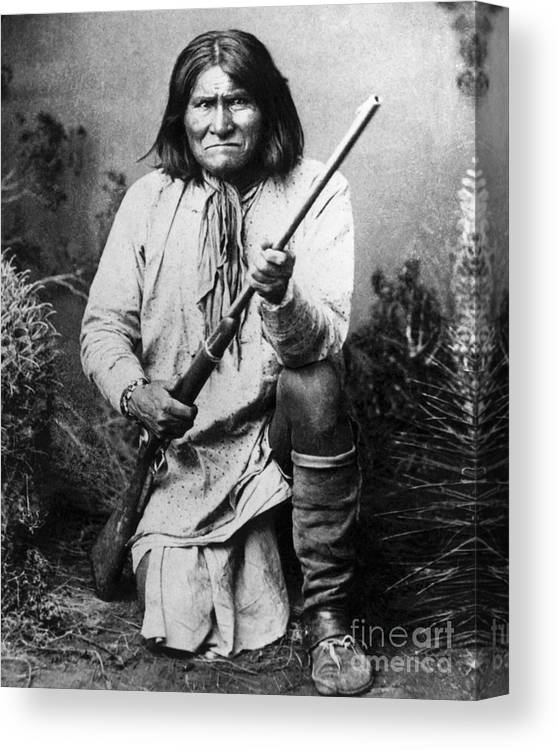 Rifle Canvas Print featuring the photograph Portrait Of Apache Chief Geronimo by Bettmann